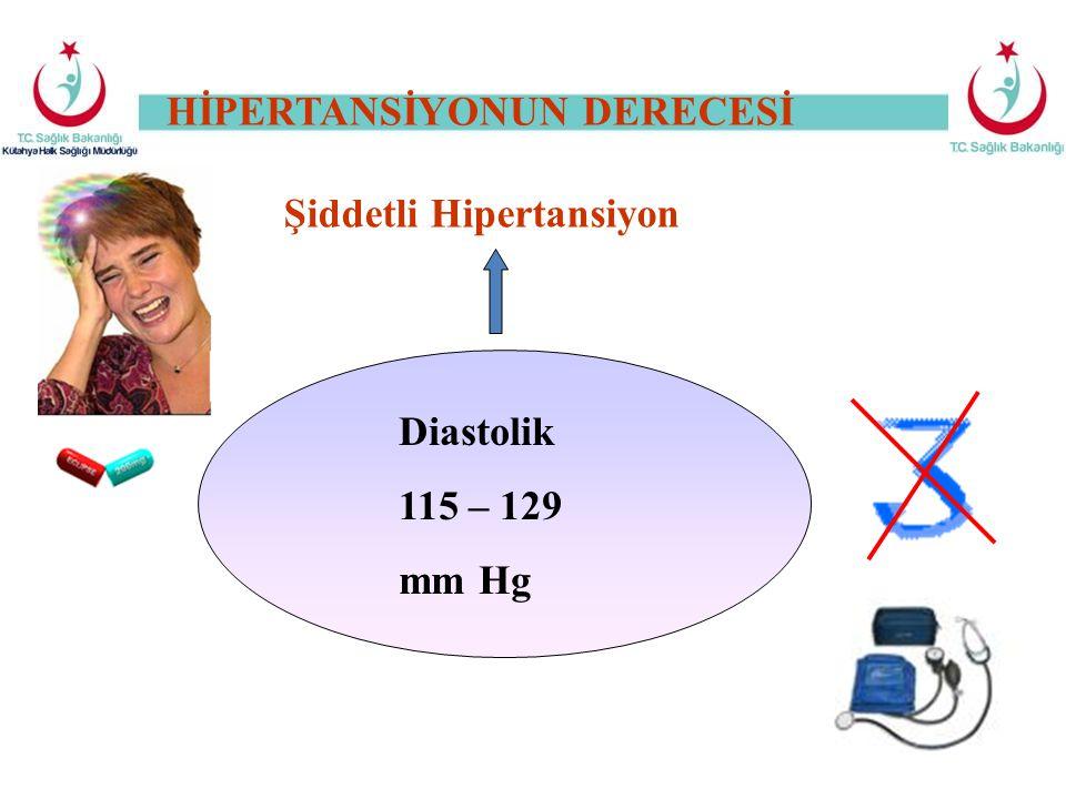 Şiddetli Hipertansiyon Diastolik 115 – 129 mm Hg