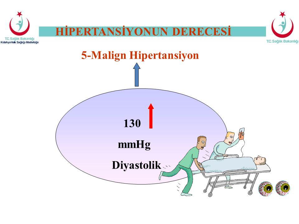 HİPERTANSİYONUN DERECESİ 5-Malign Hipertansiyon 130 mmHg Diyastolik