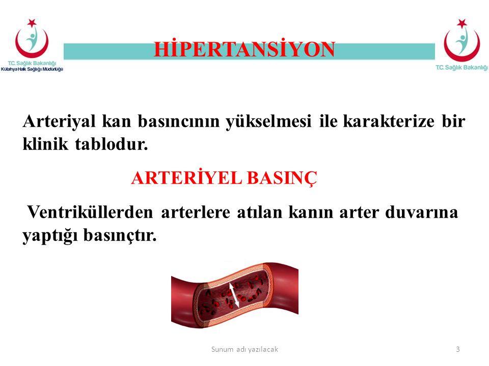 HİPERTANSİYON Sunum adı yazılacak3 Arteriyal kan basıncının yükselmesi ile karakterize bir klinik tablodur. ARTERİYEL BASINÇ Ventriküllerden arterlere