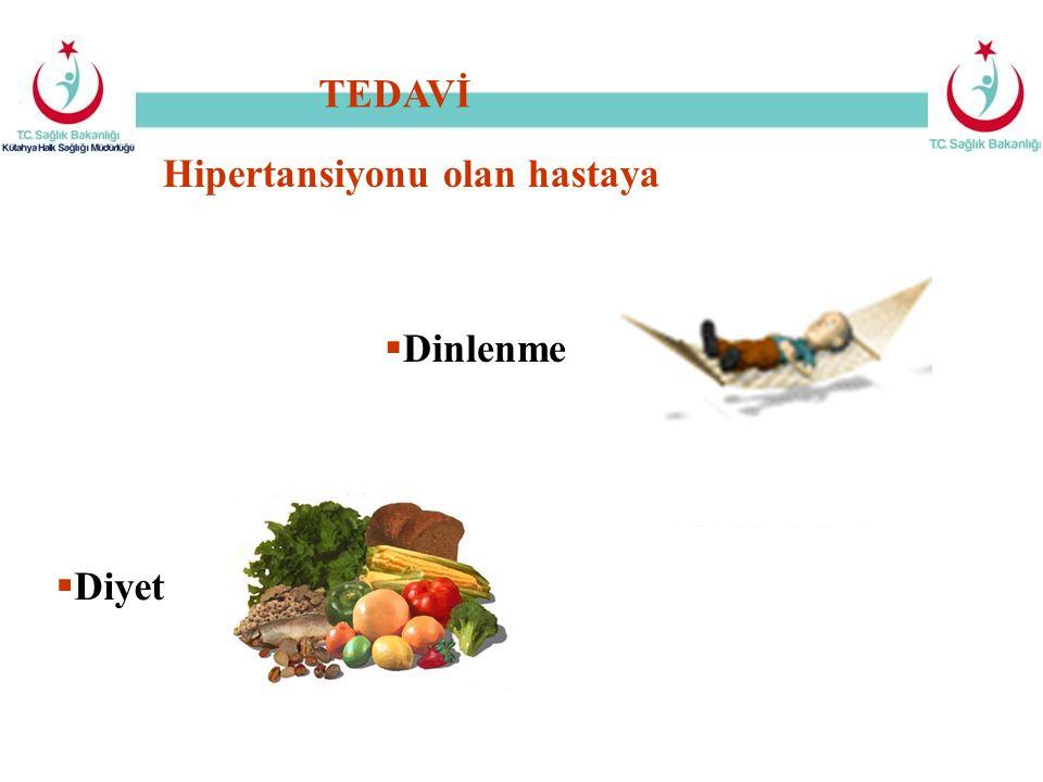 Hipertansiyonu olan hastaya  Dinlenme  Diyet TEDAVİ