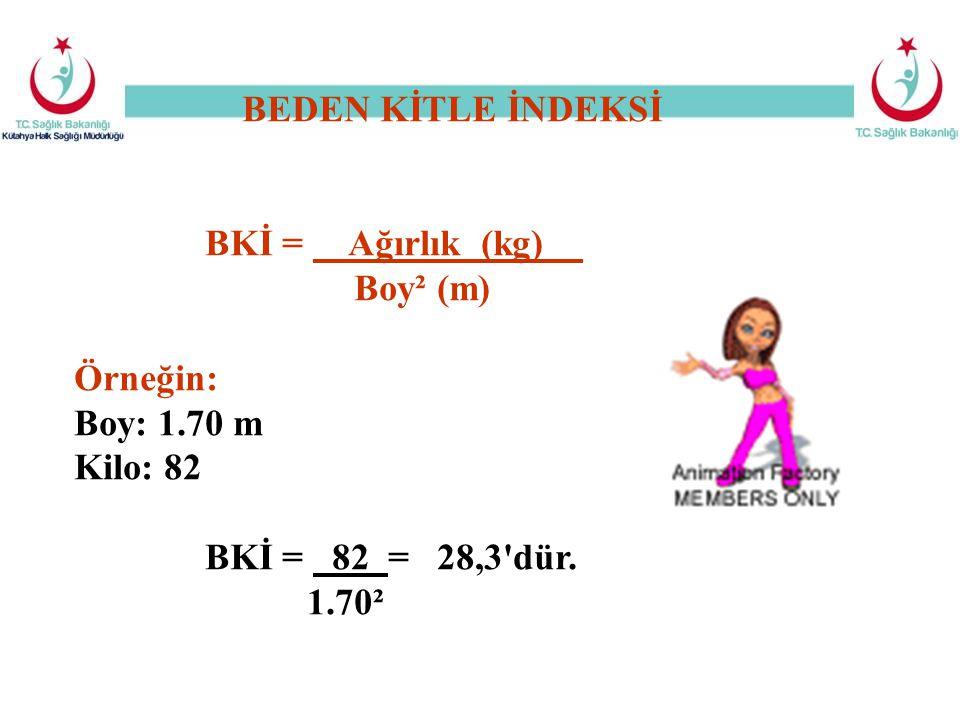 BEDEN KİTLE İNDEKSİ BKİ = Ağırlık (kg) Boy² (m) Örneğin: Boy: 1.70 m Kilo: 82 BKİ = 82 = 28,3'dür. 1.70²