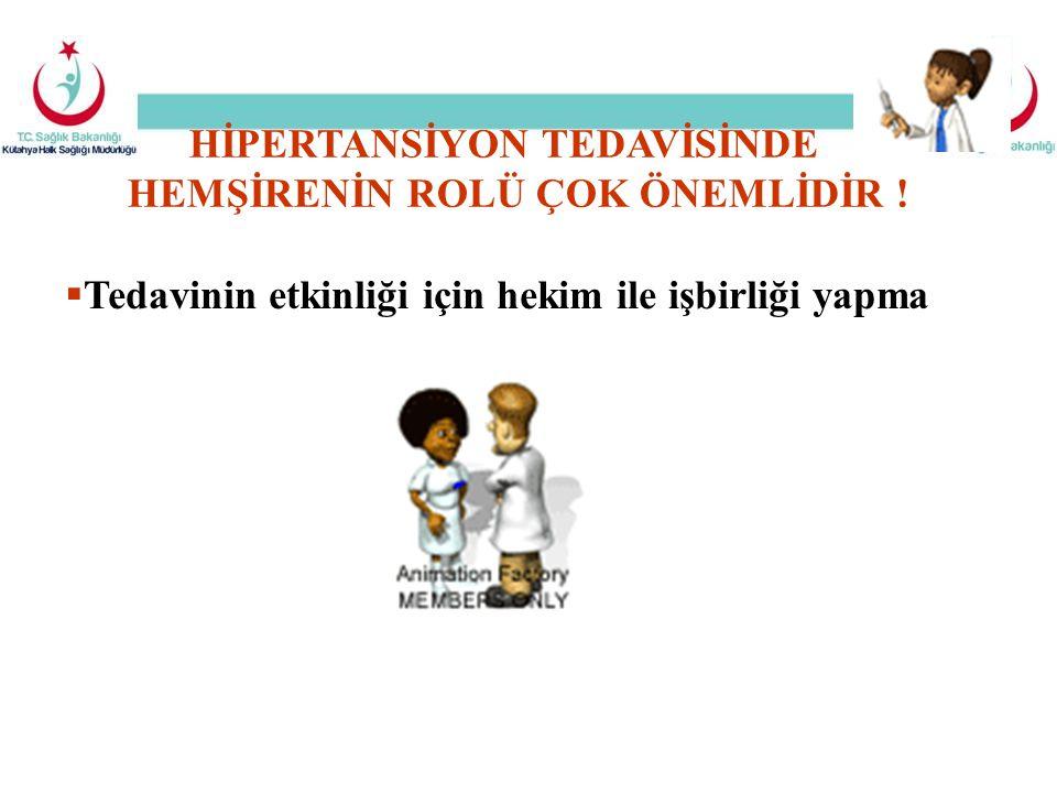  Tedavinin etkinliği için hekim ile işbirliği yapma HİPERTANSİYON TEDAVİSİNDE HEMŞİRENİN ROLÜ ÇOK ÖNEMLİDİR !