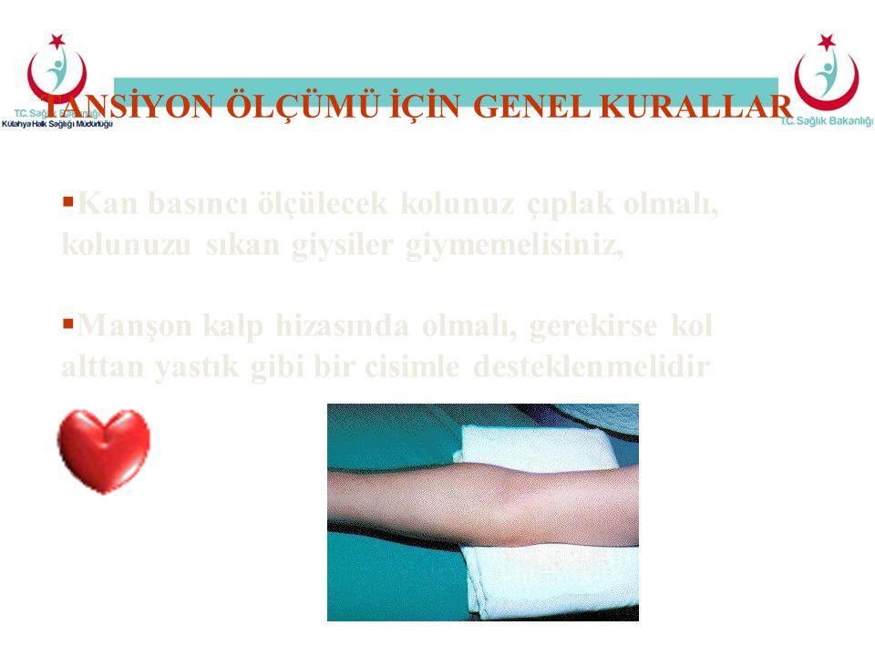  Kan basıncı ölçülecek kolunuz çıplak olmalı, kolunuzu sıkan giysiler giymemelisiniz,  Manşon kalp hizasında olmalı, gerekirse kol alttan yastık gib