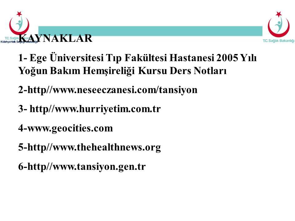 KAYNAKLAR 1- Ege Üniversitesi Tıp Fakültesi Hastanesi 2005 Yılı Yoğun Bakım Hemşireliği Kursu Ders Notları 2-http//www.neseeczanesi.com/tansiyon 3- ht