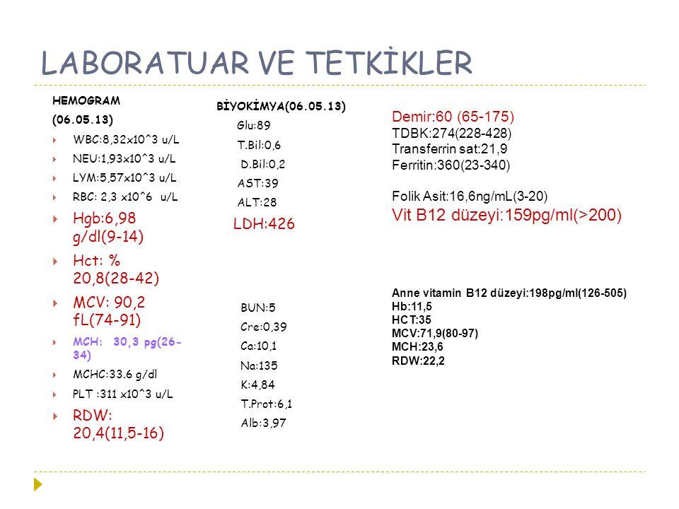 LABORATUAR VE TETKİKLER HEMOGRAM (06.05.13)  WBC:8,32x10^3 u/L  NEU:1,93x10^3 u/L  LYM:5,57x10^3 u/L  RBC: 2,3 x10^6 u/L  Hgb:6,98 g/dl(9-14)  H