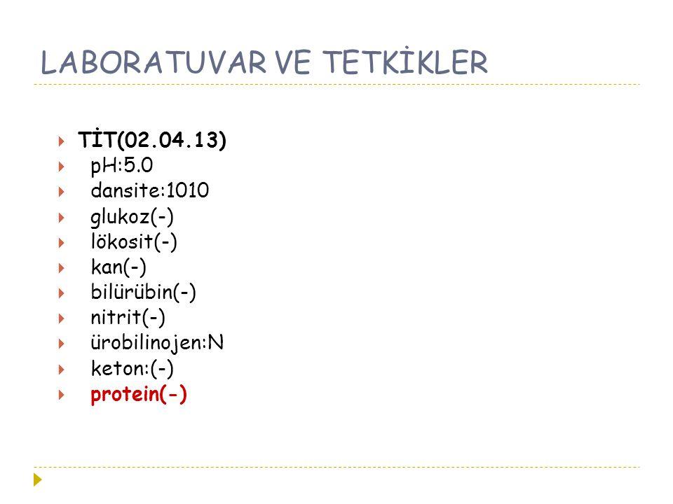 LABORATUVAR VE TETKİKLER  TİT(02.04.13)  pH:5.0  dansite:1010  glukoz(-)  lökosit(-)  kan(-)  bilürübin(-)  nitrit(-)  ürobilinojen:N  keton