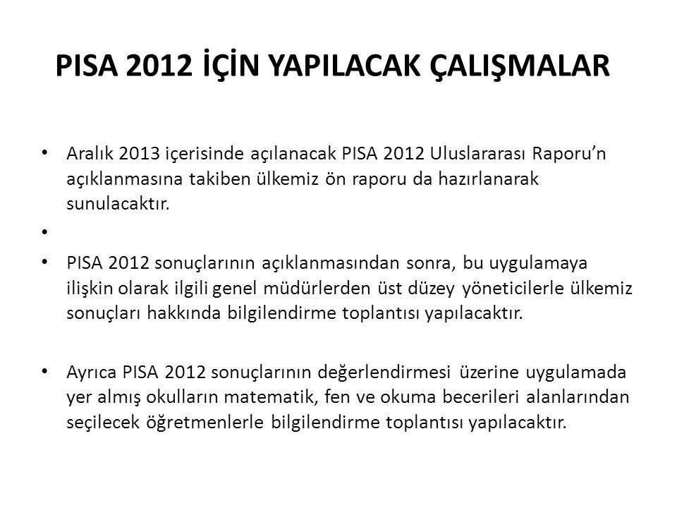 Aralık 2013 içerisinde açılanacak PISA 2012 Uluslararası Raporu'n açıklanmasına takiben ülkemiz ön raporu da hazırlanarak sunulacaktır.