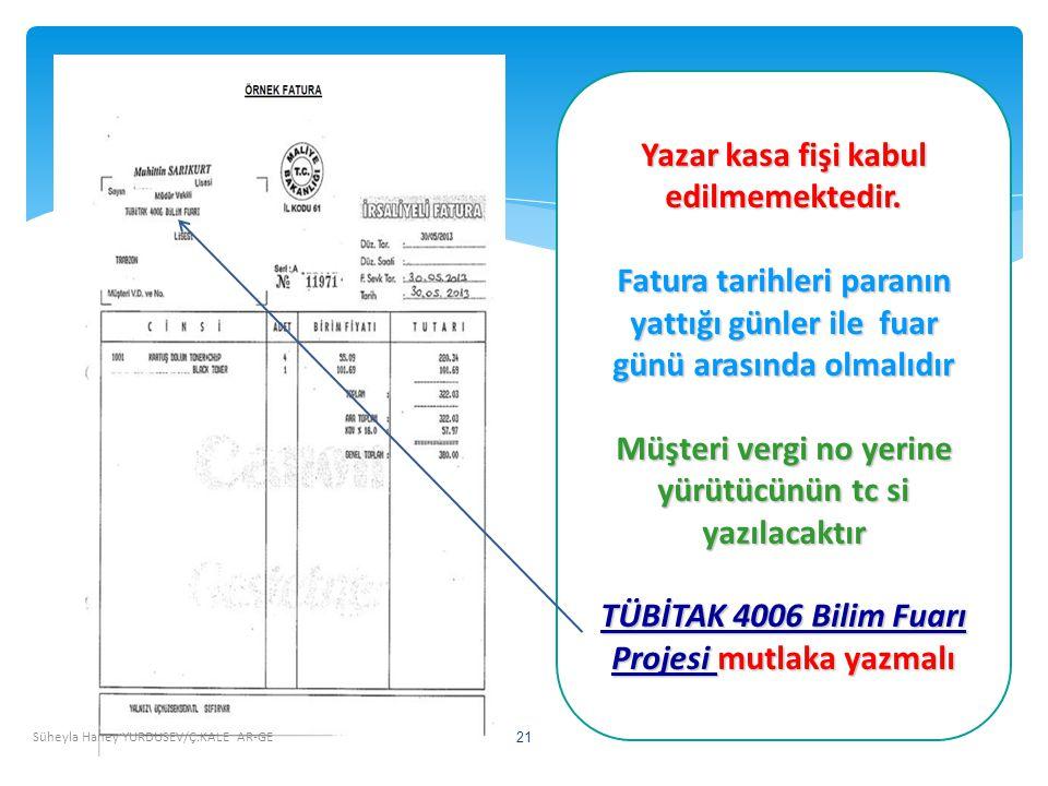 Süheyla Haney YURDUSEV/Ç.KALE AR-GE 21 Yazar kasa fişi kabul edilmemektedir.