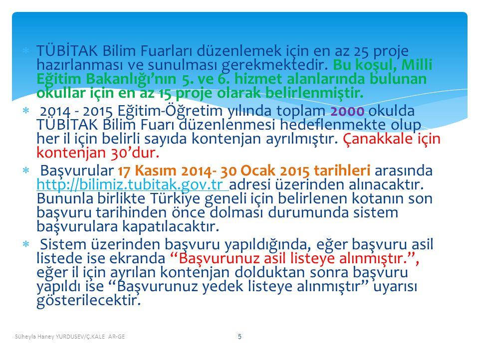 Son Başvuru Tarihi 30 Ocak 2015! Süheyla Haney YURDUSEV/Ç.KALE AR-GE 36 TÜBİTAK 4006 BİLİM FUARLARI