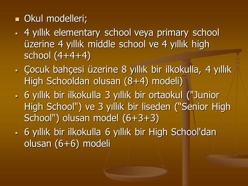 Okul modelleri; Okul modelleri; 4 yıllık elementary school veya primary school üzerine 4 yıllık middle school ve 4 yıllık high school (4+4+4) 4 yıllık