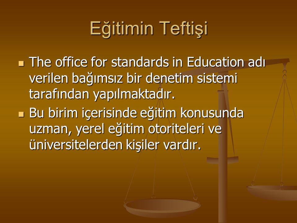 Eğitimin Teftişi The office for standards in Education adı verilen bağımsız bir denetim sistemi tarafından yapılmaktadır. The office for standards in