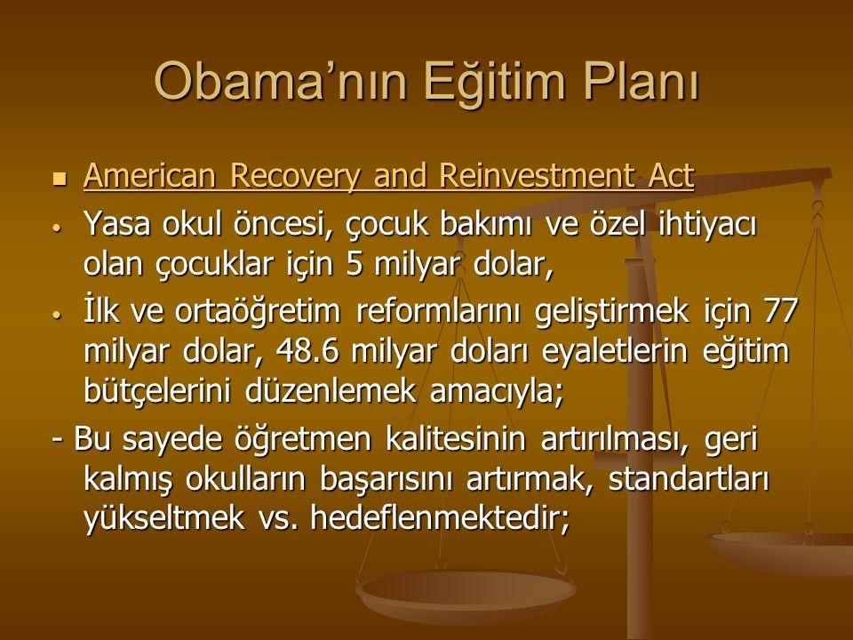 Obama'nın Eğitim Planı American Recovery and Reinvestment Act American Recovery and Reinvestment Act American Recovery and Reinvestment Act American R
