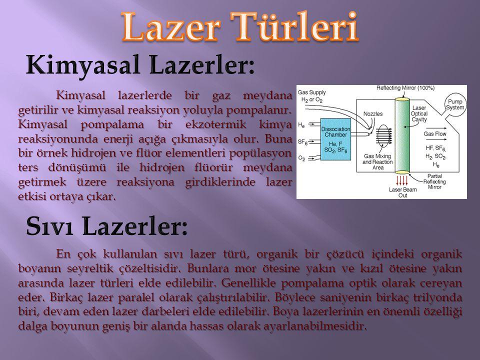 Yarı iletken malzemelerden elde edilen kristallerle de lazer yapılmıştır. Galyum-Arsenik kristali yarı iletken lazere örnektir. Yarı iletken diyot gib