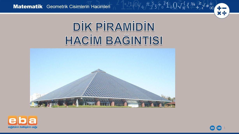 12 Pisagor bağıntısı kullanıldığında yükseklik uzunluğu: Geometrik Cisimlerin Hacimleri h 2 = 5 2 - 3 2 h 2 = 16 h = 4 cm bulunur.