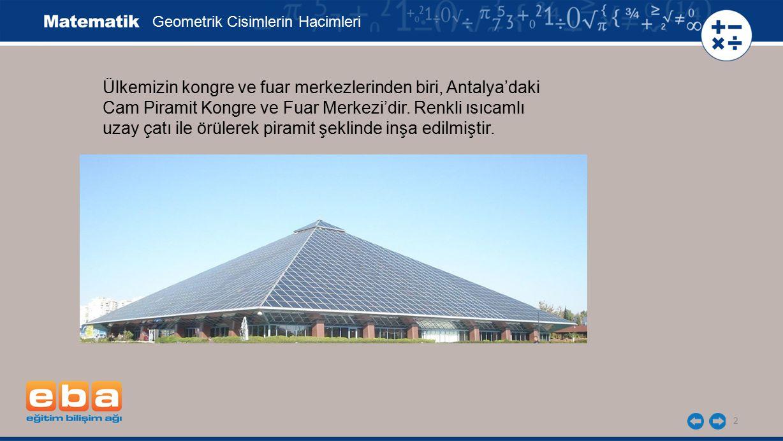 2 Ülkemizin kongre ve fuar merkezlerinden biri, Antalya'daki Cam Piramit Kongre ve Fuar Merkezi'dir. Renkli ısıcamlı uzay çatı ile örülerek piramit şe