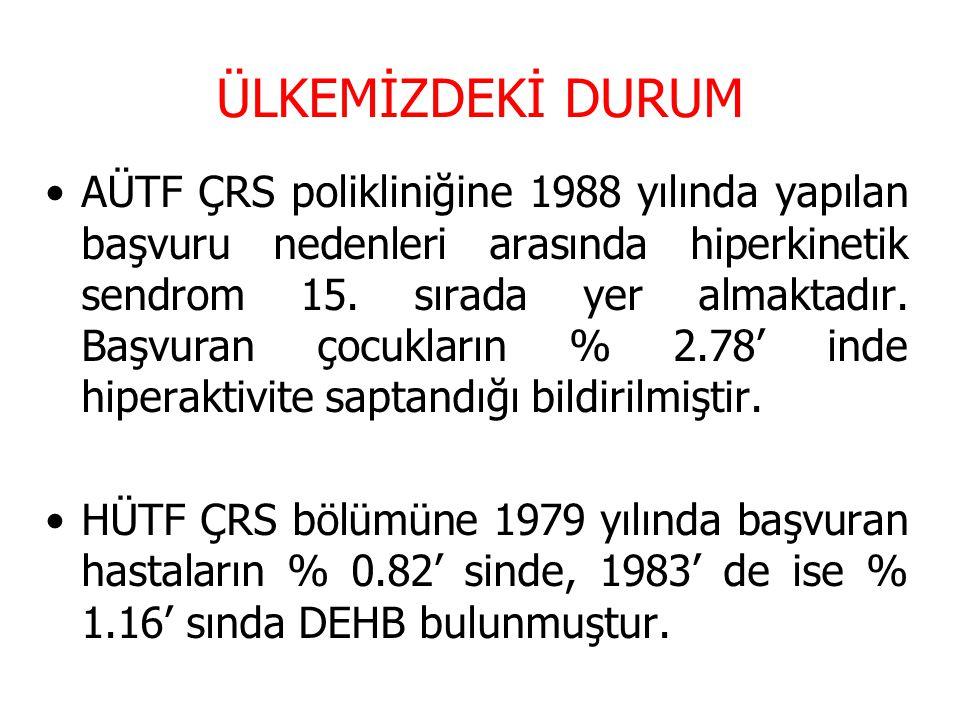 ÜLKEMİZDEKİ DURUM AÜTF ÇRS polikliniğine 1988 yılında yapılan başvuru nedenleri arasında hiperkinetik sendrom 15. sırada yer almaktadır. Başvuran çocu