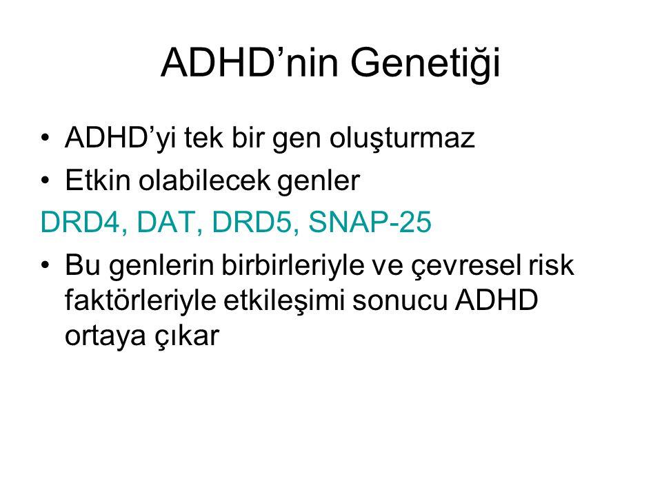 ADHD'nin Genetiği ADHD'yi tek bir gen oluşturmaz Etkin olabilecek genler DRD4, DAT, DRD5, SNAP-25 Bu genlerin birbirleriyle ve çevresel risk faktörler