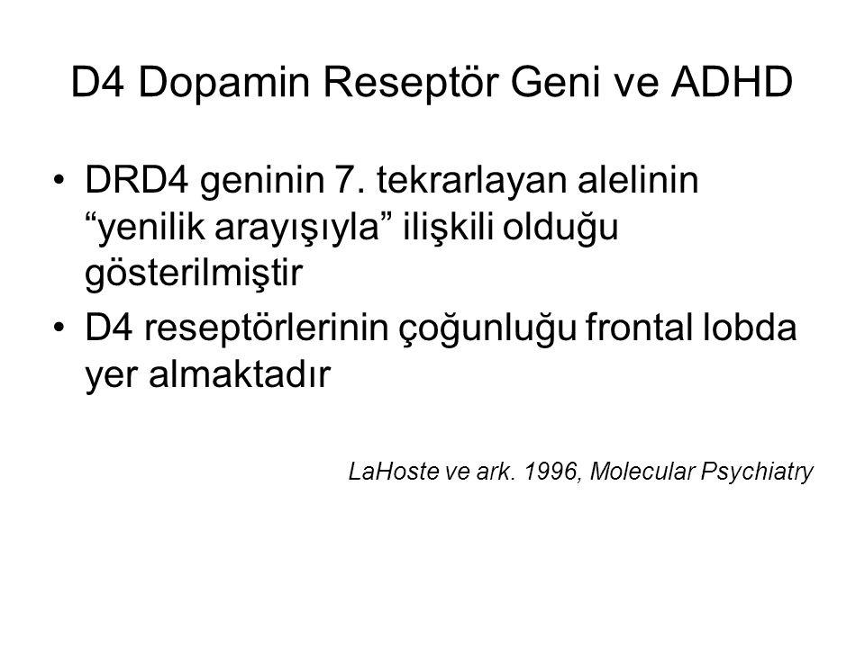 """D4 Dopamin Reseptör Geni ve ADHD DRD4 geninin 7. tekrarlayan alelinin """"yenilik arayışıyla"""" ilişkili olduğu gösterilmiştir D4 reseptörlerinin çoğunluğu"""