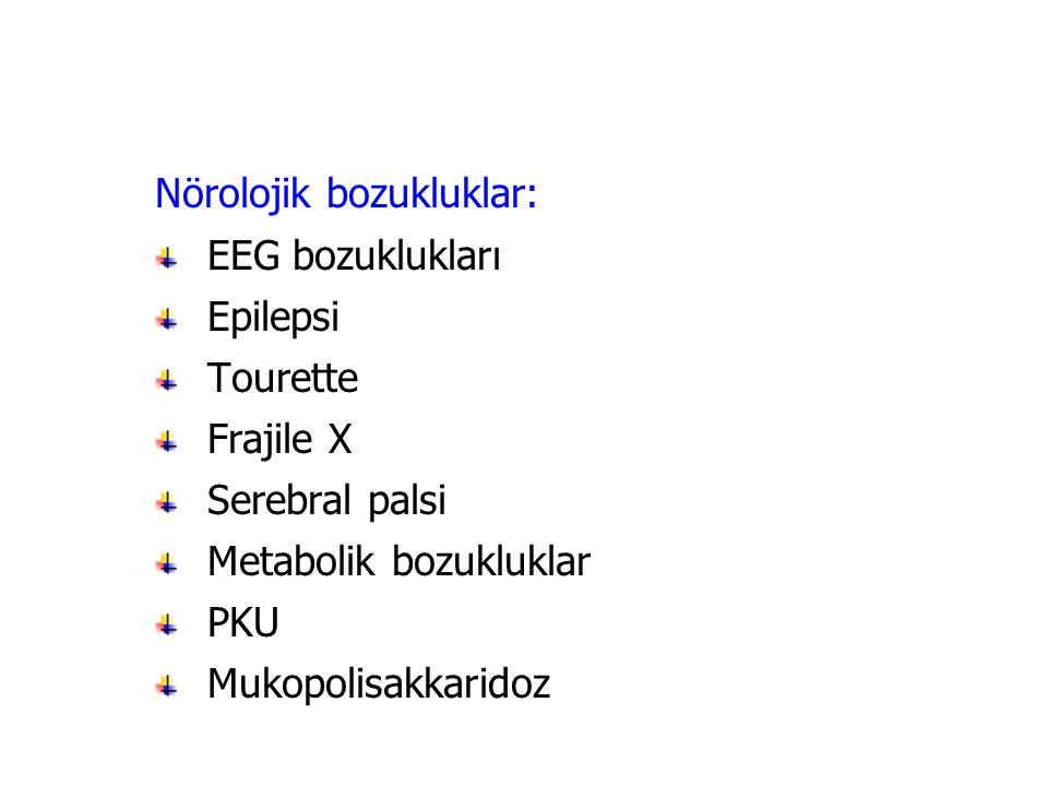 Nörolojik bozukluklar: EEG bozuklukları Epilepsi Tourette Frajile X Serebral palsi Metabolik bozukluklar PKU Mukopolisakkaridoz