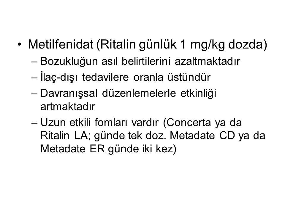 Metilfenidat (Ritalin günlük 1 mg/kg dozda) –Bozukluğun asıl belirtilerini azaltmaktadır –İlaç-dışı tedavilere oranla üstündür –Davranışsal düzenlemel