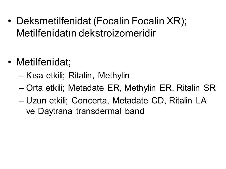 Deksmetilfenidat (Focalin Focalin XR); Metilfenidatın dekstroizomeridir Metilfenidat; –Kısa etkili; Ritalin, Methylin –Orta etkili; Metadate ER, Methy