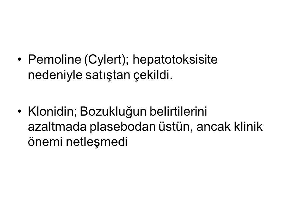 Pemoline (Cylert); hepatotoksisite nedeniyle satıştan çekildi. Klonidin; Bozukluğun belirtilerini azaltmada plasebodan üstün, ancak klinik önemi netle