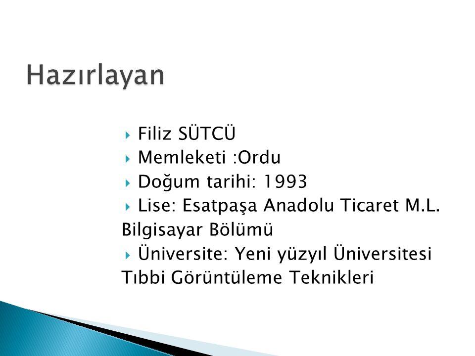  Filiz SÜTCÜ  Memleketi :Ordu  Doğum tarihi: 1993  Lise: Esatpaşa Anadolu Ticaret M.L.