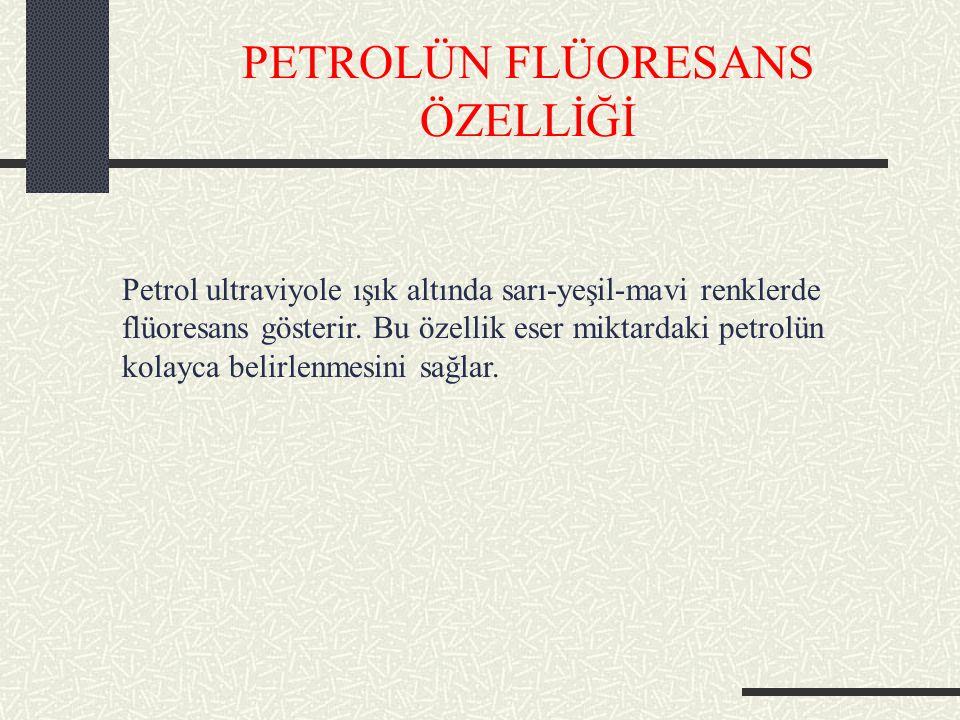 PETROLÜN FLÜORESANS ÖZELLİĞİ Petrol ultraviyole ışık altında sarı-yeşil-mavi renklerde flüoresans gösterir.
