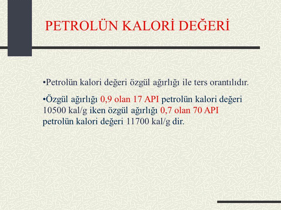 PETROLÜN KALORİ DEĞERİ Petrolün kalori değeri özgül ağırlığı ile ters orantılıdır.
