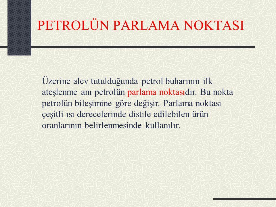PETROLÜN PARLAMA NOKTASI Üzerine alev tutulduğunda petrol buharının ilk ateşlenme anı petrolün parlama noktasıdır.