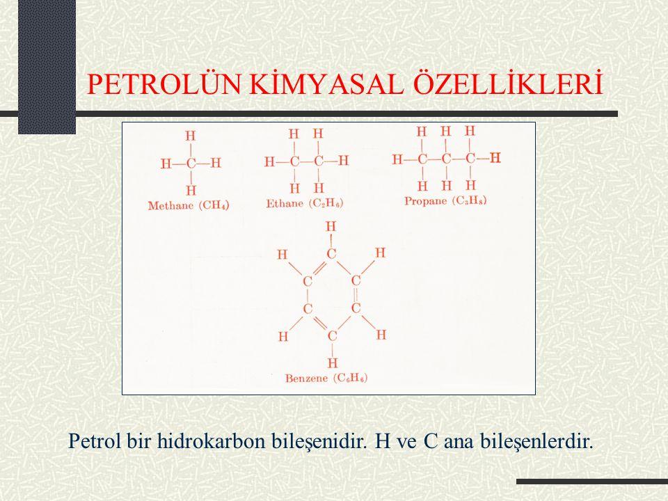 PETROLÜN KİMYASAL ÖZELLİKLERİ Petrol bir hidrokarbon bileşenidir. H ve C ana bileşenlerdir.