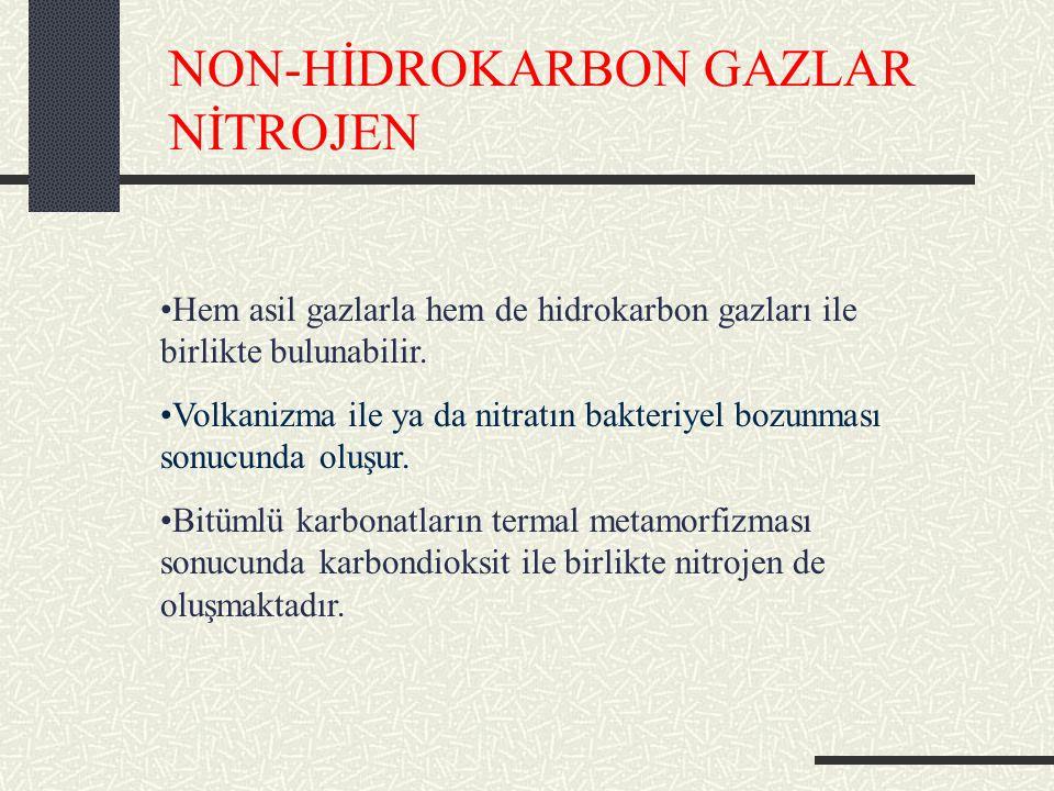 NON-HİDROKARBON GAZLAR NİTROJEN Hem asil gazlarla hem de hidrokarbon gazları ile birlikte bulunabilir.