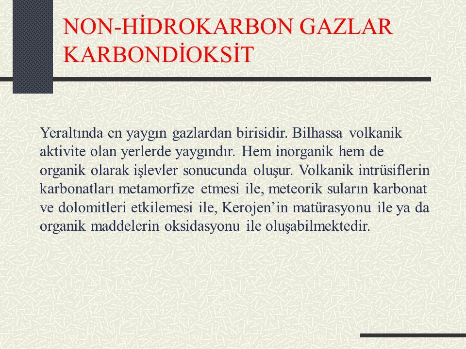 NON-HİDROKARBON GAZLAR KARBONDİOKSİT Yeraltında en yaygın gazlardan birisidir.