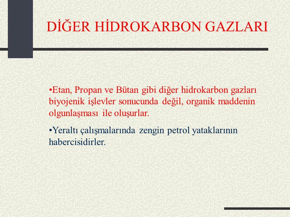 DİĞER HİDROKARBON GAZLARI Etan, Propan ve Bütan gibi diğer hidrokarbon gazları biyojenik işlevler sonucunda değil, organik maddenin olgunlaşması ile oluşurlar.