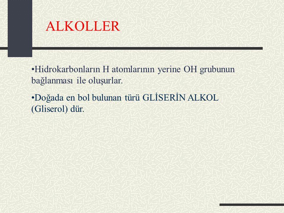 ALKOLLER Hidrokarbonların H atomlarının yerine OH grubunun bağlanması ile oluşurlar.