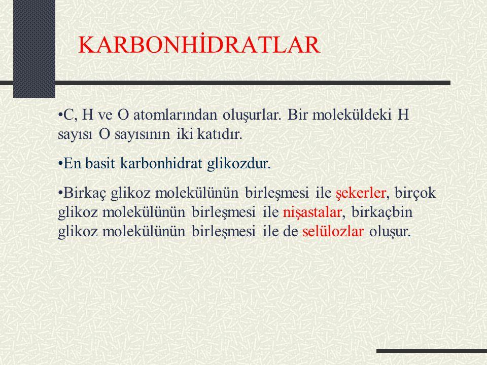 KARBONHİDRATLAR C, H ve O atomlarından oluşurlar.Bir moleküldeki H sayısı O sayısının iki katıdır.