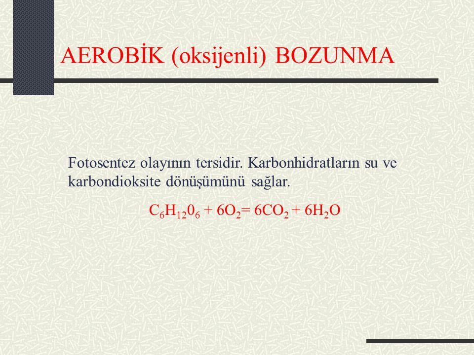 AEROBİK (oksijenli) BOZUNMA Fotosentez olayının tersidir.