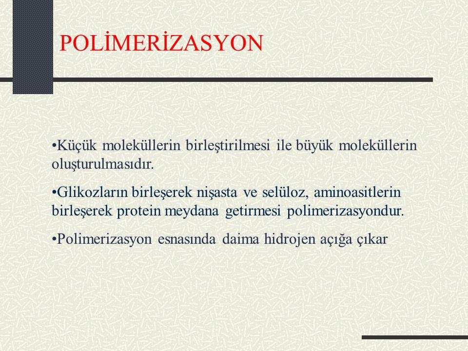 POLİMERİZASYON Küçük moleküllerin birleştirilmesi ile büyük moleküllerin oluşturulmasıdır.