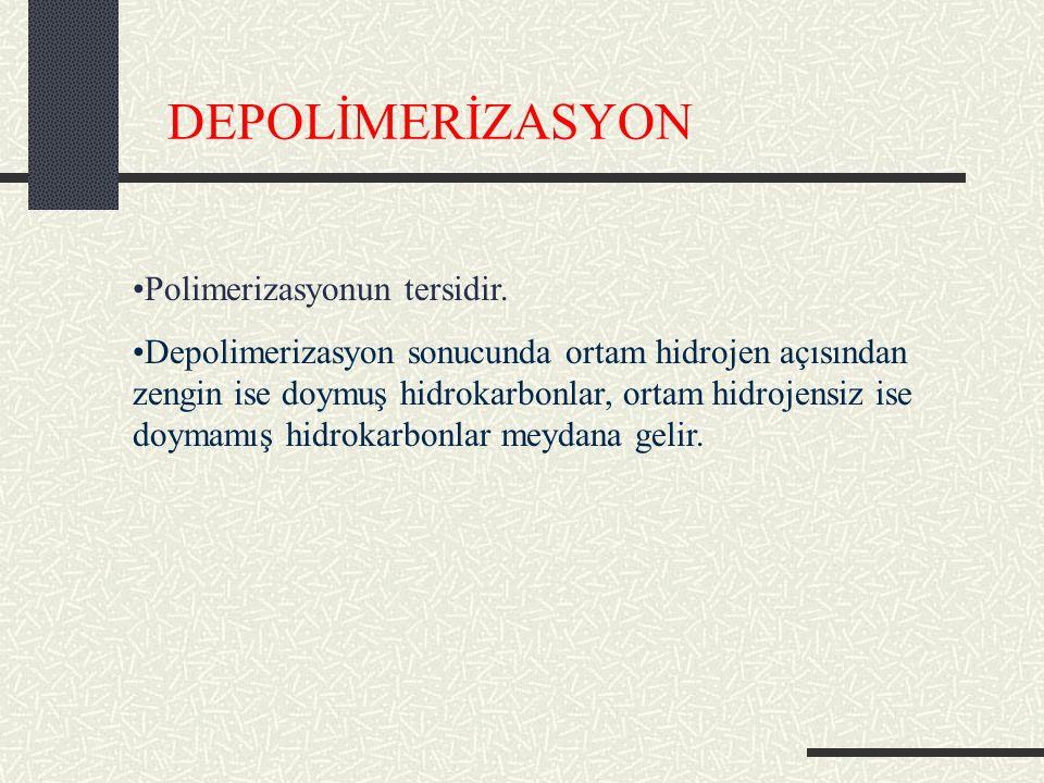 DEPOLİMERİZASYON Polimerizasyonun tersidir.