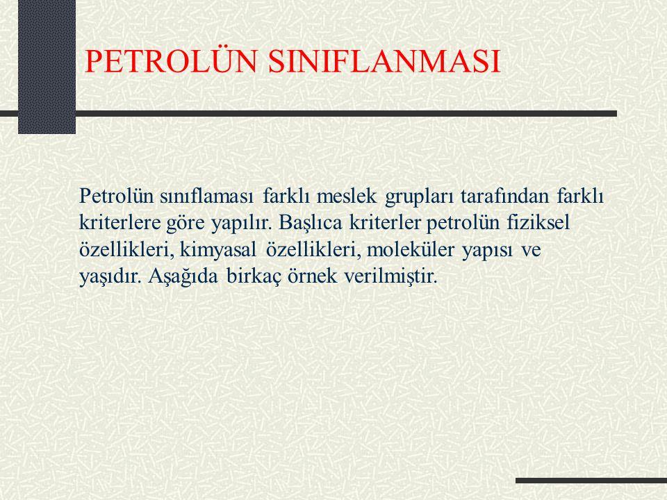 PETROLÜN SINIFLANMASI Petrolün sınıflaması farklı meslek grupları tarafından farklı kriterlere göre yapılır.