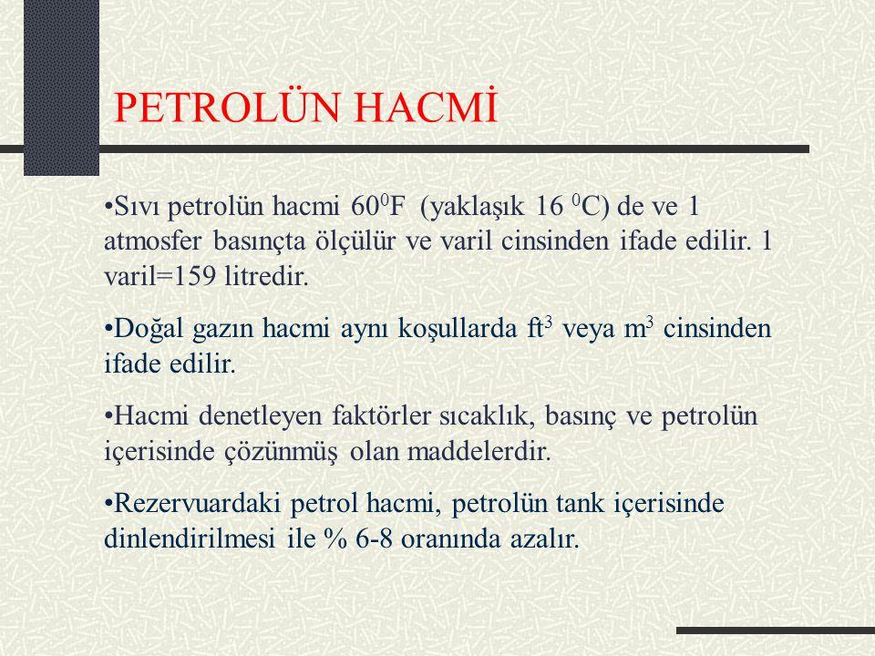 PETROLÜN HACMİ Sıvı petrolün hacmi 60 0 F (yaklaşık 16 0 C) de ve 1 atmosfer basınçta ölçülür ve varil cinsinden ifade edilir.
