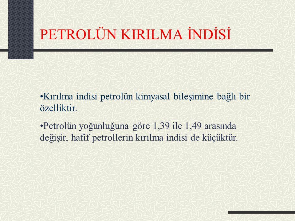 PETROLÜN KIRILMA İNDİSİ Kırılma indisi petrolün kimyasal bileşimine bağlı bir özelliktir.