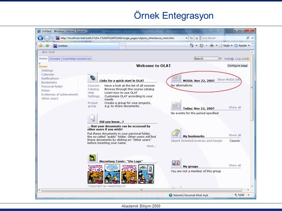 Akademik Bilişim 2009 Örnek Entegrasyon