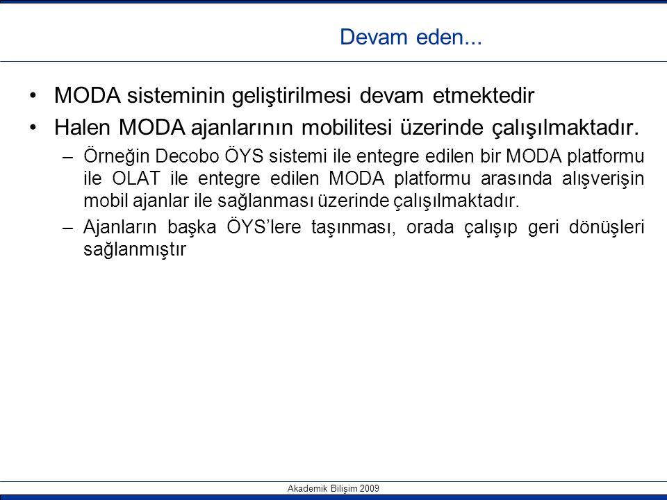 Akademik Bilişim 2009 Devam eden... MODA sisteminin geliştirilmesi devam etmektedir Halen MODA ajanlarının mobilitesi üzerinde çalışılmaktadır. –Örneğ