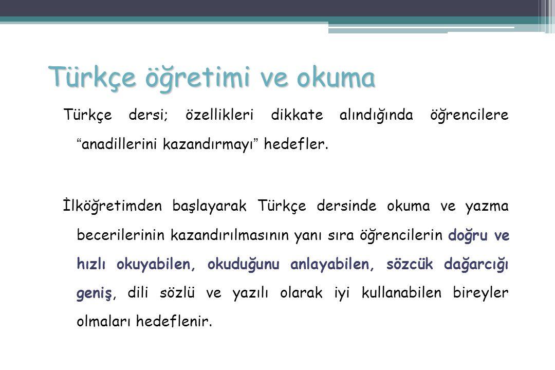 """Türkçe öğretimi ve okuma Türkçe dersi; özellikleri dikkate alındığında öğrencilere """" anadillerini kazandırmayı """" hedefler. İlköğretimden başlayarak Tü"""