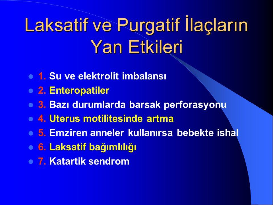 Laksatif ve Purgatif İlaçların Yan Etkileri 1. Su ve elektrolit imbalansı 2. Enteropatiler 3. Bazı durumlarda barsak perforasyonu 4. Uterus motilitesi