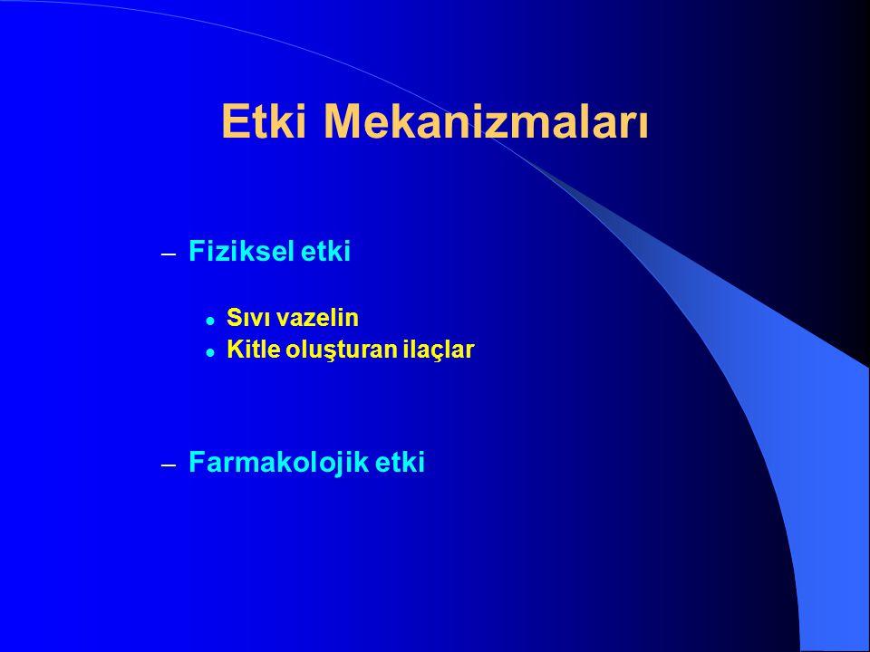Stimülan laksatif- Purgatifler ANTRAKİNON TÜREVİ GLİKOZİDLER AGLİKON (etkin kısımları) EMODİN (aktif metabolit)
