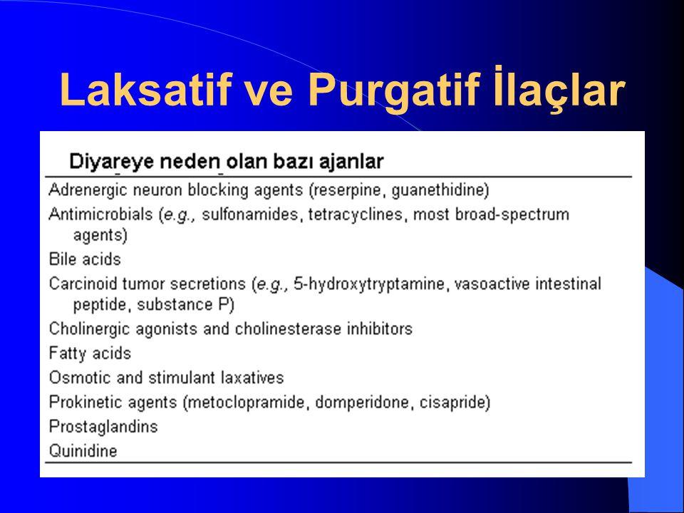 Laksatif ve Purgatiflerin Klinik Kullanımı Alışkanlıklar değiştirilmeli Kısıtlı bir süre kullanım Suistimal edilebilirler Sabah aç karnına (laksatif) Gece yatarken (purgatif) Apandisit Bağırsaklarda iltihabi durum İleus KONTRENDİKE TEK DOZ