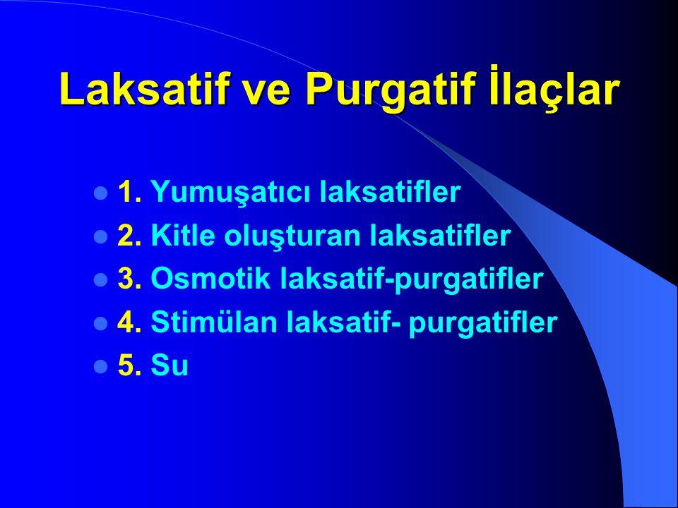 1. Yumuşatıcı laksatifler 2. Kitle oluşturan laksatifler 3. Osmotik laksatif-purgatifler 4. Stimülan laksatif- purgatifler 5. Su