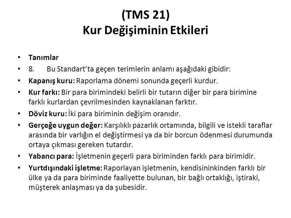 (TMS 21) Kur Değişiminin Etkileri Tanımlar 8.Bu Standart'ta geçen terimlerin anlamı aşağıdaki gibidir: Kapanış kuru: Raporlama dönemi sonunda geçerli